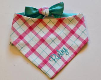 Personalized Flannel Dog Bandana || Pink White and Green Plaid Pet Scarf ||  Puppy Gift by Three Spoiled Dogs