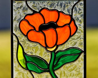 Stained glass orange poppy flower suncatcher, stain glass orange poppy flower ornament, glass flower, spring time decoration