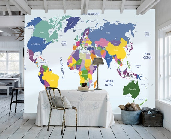 World map removable wallpaper peel and stick map wall sticker like this item gumiabroncs Choice Image