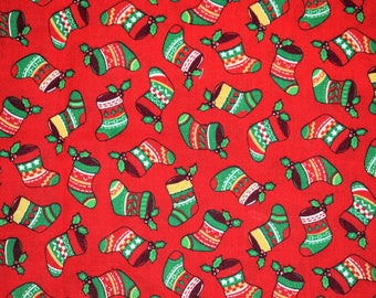 VIP Print by Cranston, Christmas Stocking Fabric, Red Christmas Fabric, Christmas Quilting Fabric, Vintage Quilting Fabric, Vintage Fabric