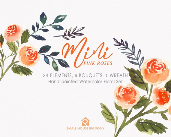 Digital Clipart- Watercolor Flower Clipart, roses Clip art, Floral Bouquet Clipart, wedding flowers clip art- Mini Orange Roses