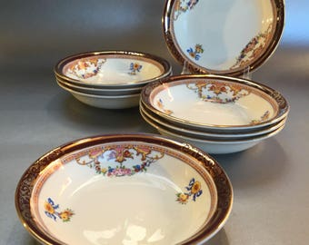 "4 Antique Alfred Meakin England Bleu de Roi 5"" China Bowls Fruit Nappies"