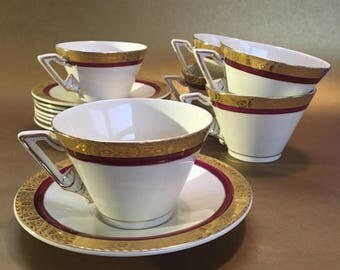 Set of 5 Burleigh Ware Zenith Art Deco English Pottery Antique Cups and Saucers