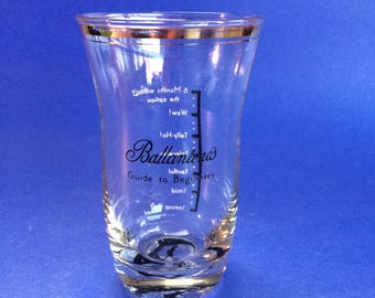 Ballentine's Vintage Scotch Glass Measuring Tumbler Beginners Last Drop