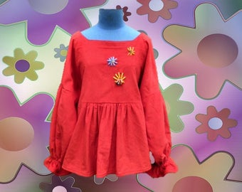 Blouse / large hand embroidered red velvet, boho/hippie tunic