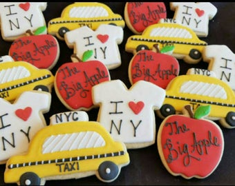 24 NYC cookies (taxis, apples, tshirts)