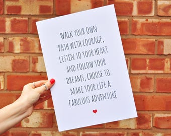 Positive Inspirational Quote Print - Motivational Typography Postcard Print A6 A5 A4 - Adventure Print - Courage Print - Dream Quote Print
