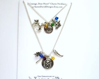 Courage, Dear Heart - Charm Necklace Inspired by The Chronicles of Narnia
