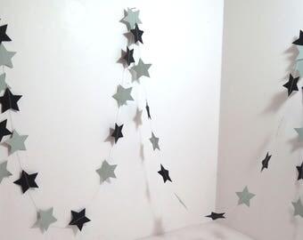 Garland of stars, black color, length 250 cm