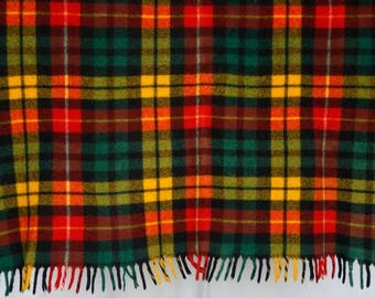 Vintage plaid wool throw blanket - yellow red green window pane plaid w thick fringe