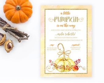 Baby Shower Invitation, Fall Baby Shower Invitations, Pumpkin Baby Shower Invite, Autumn Baby Shower, Pumpkin Shower Invitation, Baby  [512]