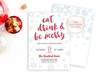 Christmas Party Invitation, Christmas Party, Holiday Party Invitation, Christmas Invites, Digital Invites, Printable Christmas Invite [523]