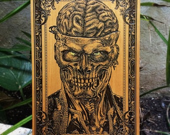 Brain Dead, Brain Art, Brain Artwork, Original Brain Art Print, Horror Zombie, Gothic Art, Akihito, Horror Art, Wood Engraving, Limited Art