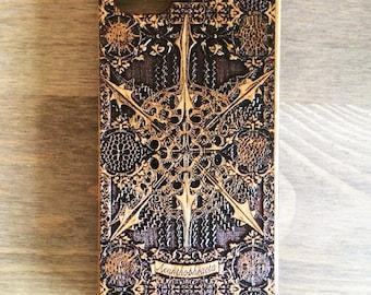 Wooden Iphone Case, Wooden Samsung Cover, Galaxy S6 S7 S8 Plus, Real Wood iPhone Case 6 7 8 Plus, iPhone X, iPhone 5 SE, Ernst Haeckel