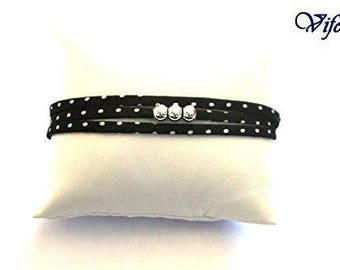 Black white spotted 3-4 rounds  Liberty bracelet, 3 925 sterling silver beads, adjustable
