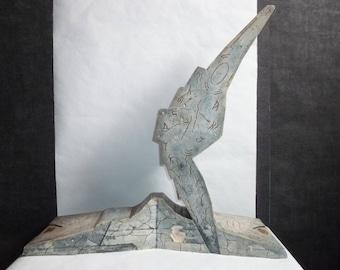 Cast gypsum sculpture. Sea Horse