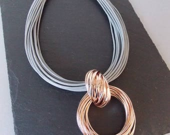 Grey Multi-Cord and Rose Gold Statement Necklace