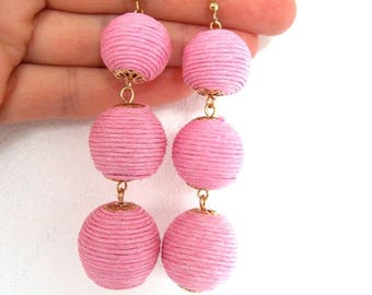 Baby Pink Thread Ball Statement Earrings