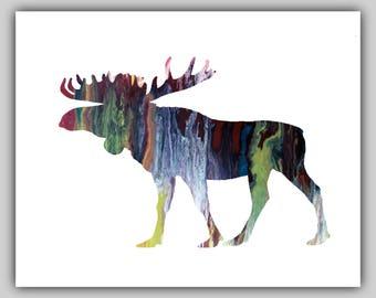 Watercolor moose, water color moose, moose print, moose prints, moose picture, moose pictures, moose painting, wall art nursery, moose art
