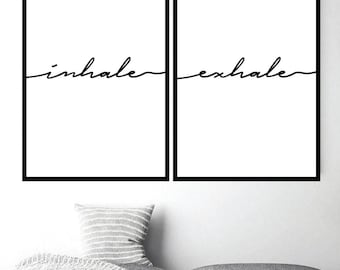 Inhale Exhale Print Poster Art Yoga Quote Pilates Relaxation Scandi Minimalist Words
