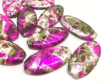 Pink and Green Watercolor Beads 40mm acrylic beads, pink painted beads, big acrylic beads, wire bangles, pink green jewelry, pink beads