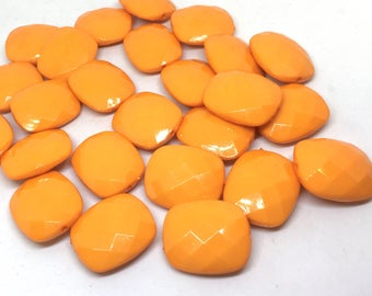 Orange Faceted Puffed Oval 31mm Bead, Oval tangerine Bead, Bangle or Jewelry Making, bangle beads, orange jewelry, orange necklace jewelry