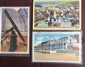Antique Travel theme postcard set of 3 very cool!