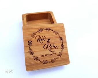 Wedding wood ring box, handmade personalized wedding ring bearer, custom bamboo ring box by TreeX