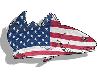 USA Redfish Sticker Printed Digital Vinyl Decal Fish Fishing Red Drum Car Truck Boat Reel Decals Sticky Customs Artwork