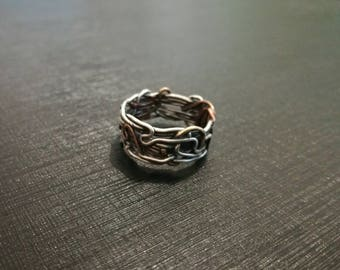 Tangled wire ring made of sterling silver, red brass and copper