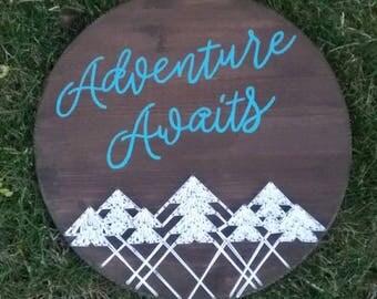Adventure Awaits String Art, baby room decor, nursery decor, adventure decor, travel string art