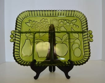 Vintage Green Glass Divided Serving Dish, Made by Indiana Glass