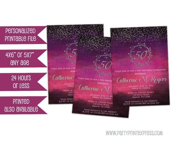 Printable purple birthday invitation for women 50th birthday il570xn filmwisefo