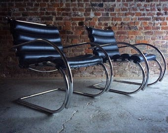 Original Pair Of Knoll Studio MR Lounge Chairs Ludwig Mies Van Der Rohe Black Leather