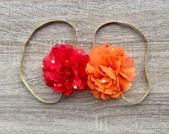 Baby Headband, Flower Headband, baby accessories, Girls Headband, Red and Orange flowers, first birthday headband
