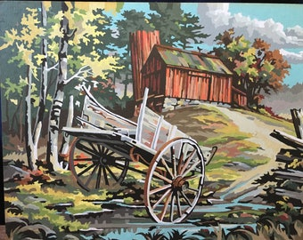 Vintage 1950's 1960's Paint by Number Barn