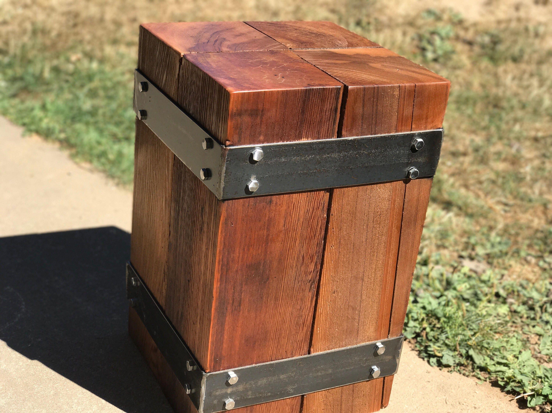 Industrial Wood And Metal Nightstand: Industrial Nightstand. End Table. Beam End Table. Steel And