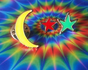 Moon and Stars 3 Piece Mini Pin Set