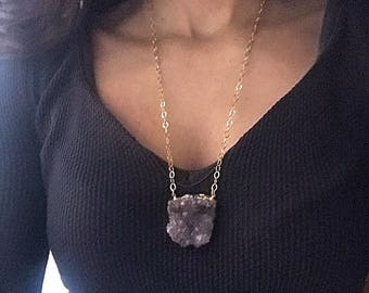 Large Amethyst Cluster Necklace // Large Amethyst Necklace // Long Amethyst Necklace