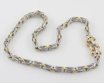 """18K Yellow And White Gold Byzantine Rolo Link Toggle Necklace 17"""" 36.20 grams"""