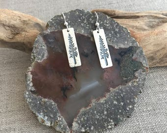 Redwood Tree Fine Silver Earrings
