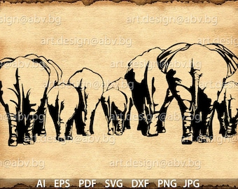 Vector  ELEPHANTS /one object/, AI, eps, pdf, svg, dxf, png, jpg Download, graphical, animal, figuration, discount coupons