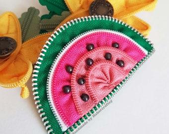 Watermelon hair clip - brooch pin - zipper accessory - zip craft - rockabilly - retro - fruit slice - girls accessory tutti fruiti