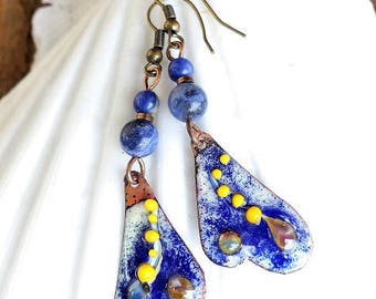 Glazes of art in cream, indigo and Yellow Butterfly wing earrings