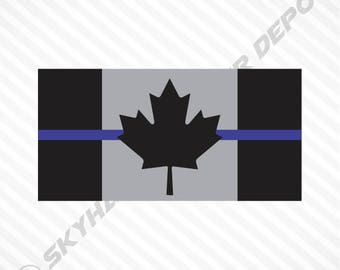 Subdued Canadian Flag Thin Blue Line Sticker Vinyl Decal Police Law Enforcement RCMP Canada Maple Leaf Sticker Macbook Laptop Car Sticker