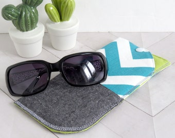 Padded Sunglasses Case - Turquoise Chevrons // Soft Pouch with Snap // Glasses Holder