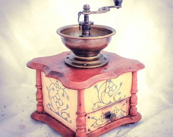 Antique Coffee Grinder CELLULOID mill Moulin a cafe Molinillo kaffeemuehle Decor Art Deco Koffuemolen Macinacaffe