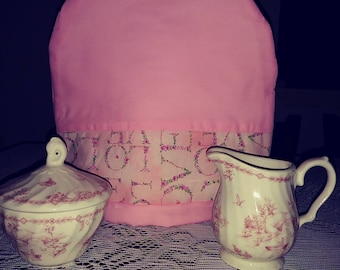 Pink solid and love words fabric tea cozie handmade pinklady cottage