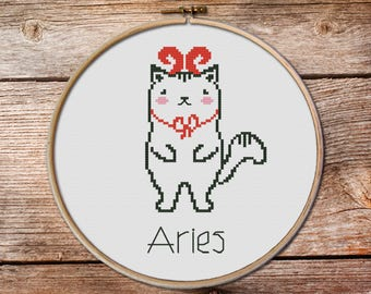 Aries-zodiac sign, Aries Cross Stitch, Cute Zodiac Cross Stitch, kawaii aries, cute cross stitch, kawaii cat cross stitch pattern, aries