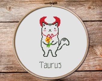 Taurus - zodiac sign, Taurus Cross Stitch, cute zodiac cross stitch, cute cross stitch, cat cross stitch pattern, easy taurus cross stitch